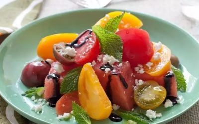 Refreshing Watermelon, Heirloom Tomato, and Basil Salad