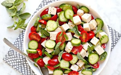 Dairy-Free Tomato, Cucumber, and Feta Salad
